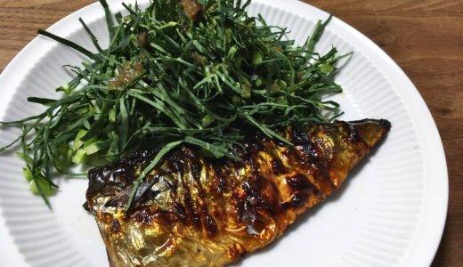 サバの塩焼きケール添え【魚食は血中ビタミン濃度に影響を与えるか】